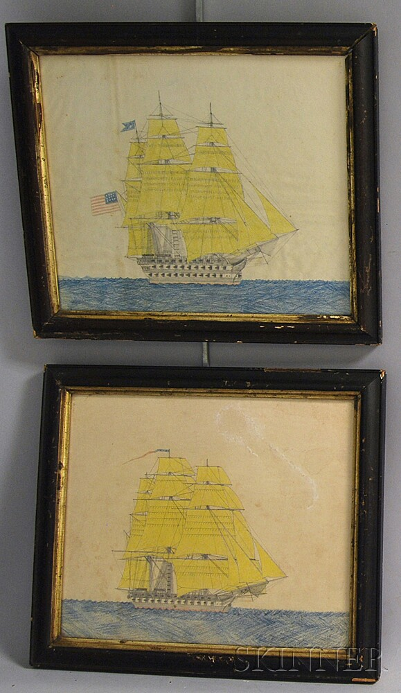 American School, 19th Century       Two Portraits of Ships at Sea.