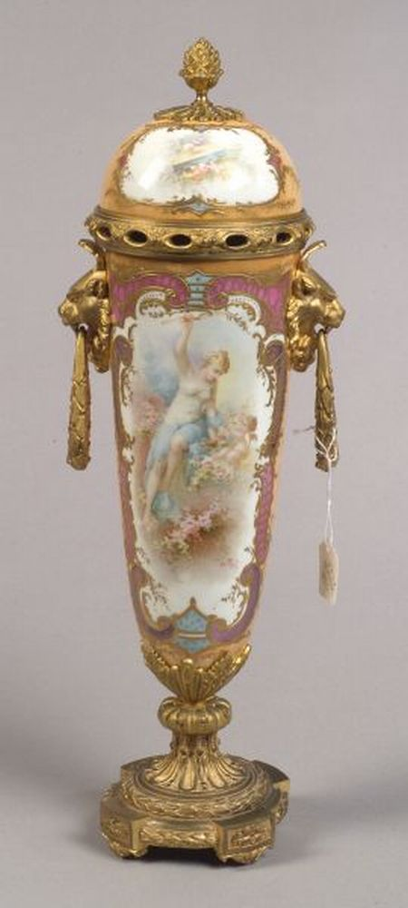 Sevres-style Gilt Metal Mounted Vase and Cover