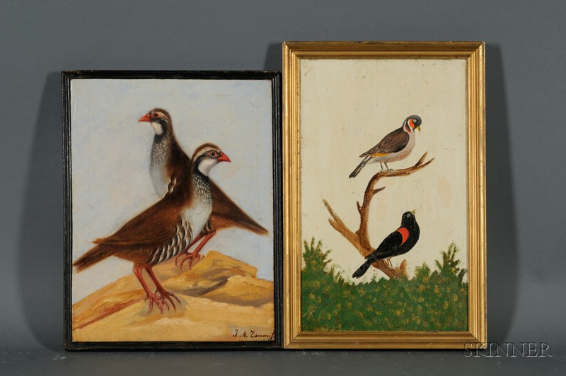 Lot of Two Ornithological Paintings:      Continental School, 19th Century, Red Wings