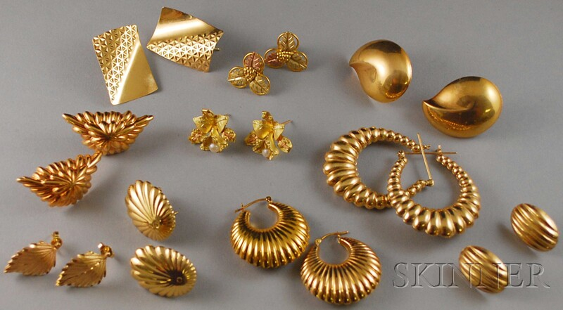 Nine Pairs of Assorted Gold Earrings
