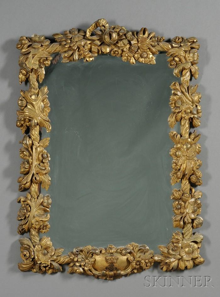 Continental Rococo Revival Giltwood Mirror
