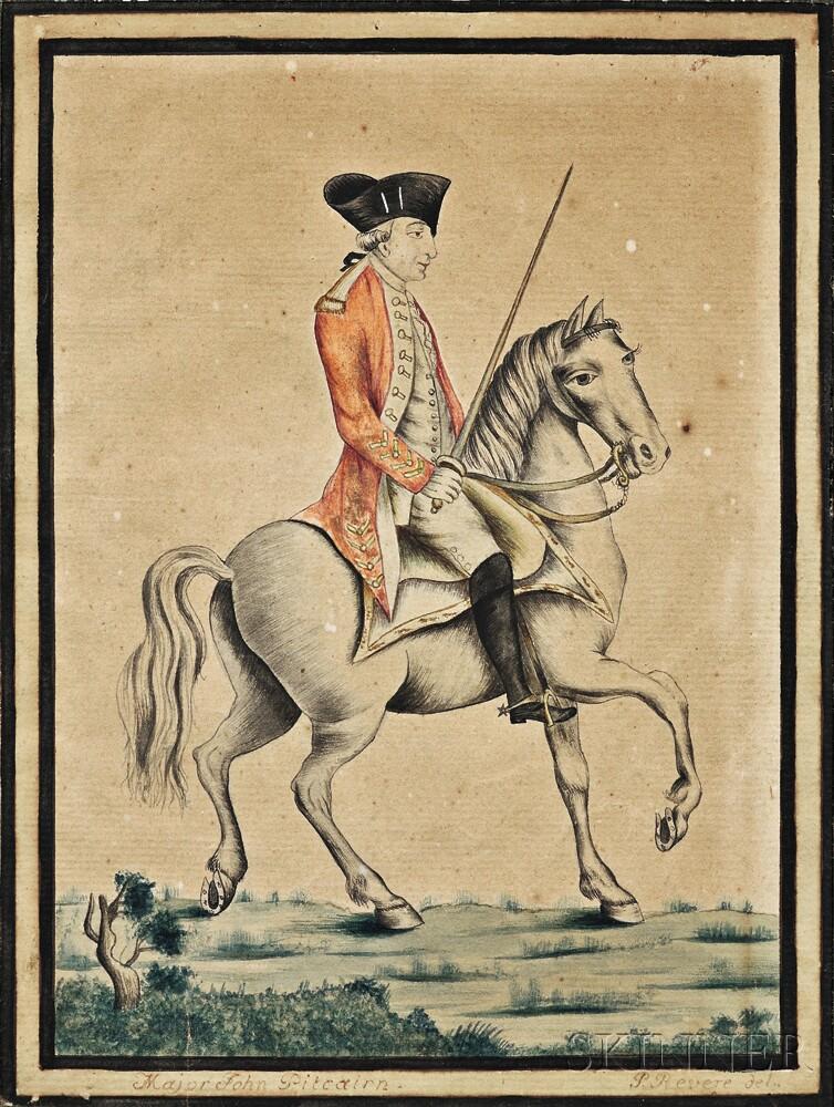 Paul Revere, Jr. (Boston, 1734-1818)      Portrait of Major John Pitcairn on Horseback.