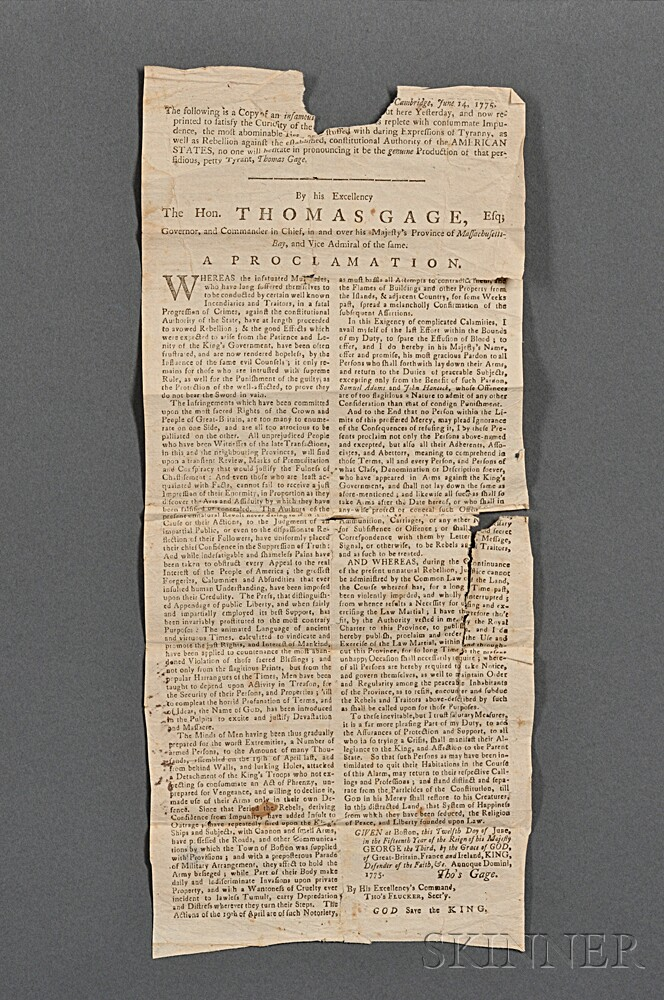 Gage, Thomas (1721-1787) An Address of the Gentlemen and Principal Inhabitants of the Town of Boston, to His Excellency Governor Gage.
