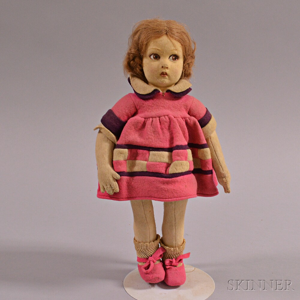 Lenci Felt Girl Doll in Pink Dress