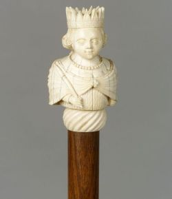 Figural Carved Ivory-Topped Malacca Walking Stick