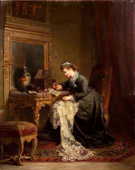Arthur Julius Barth (German, 1878-1926)    Remembrances/Genre Scene with a Woman Seated at a Dressing Table
