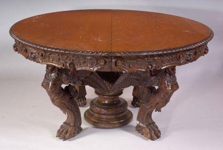 Renaissance Revival Oak Dining Table