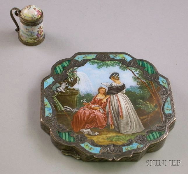 German .800 Silver Engraved and Enameled Compact and a Miniature Enameled Stein-form Snuff Box