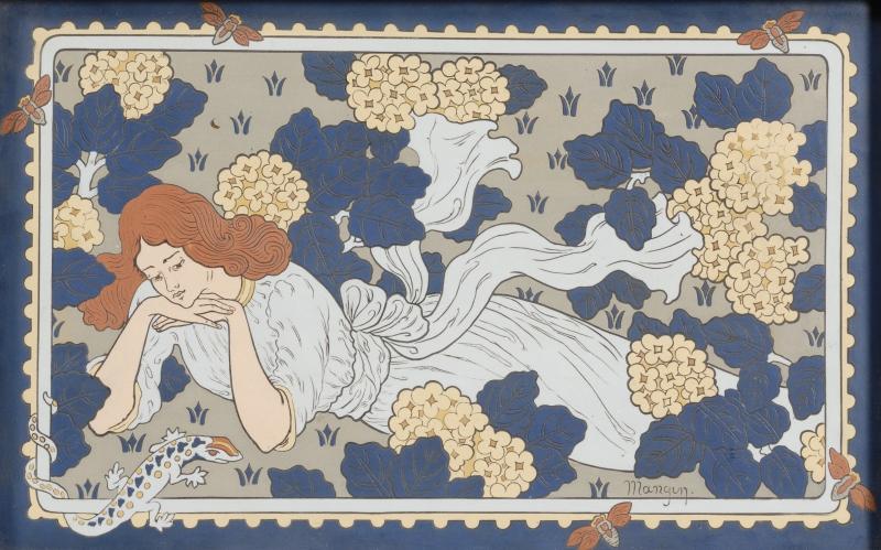 Mettlach Stoneware Art Nouveau Plaque