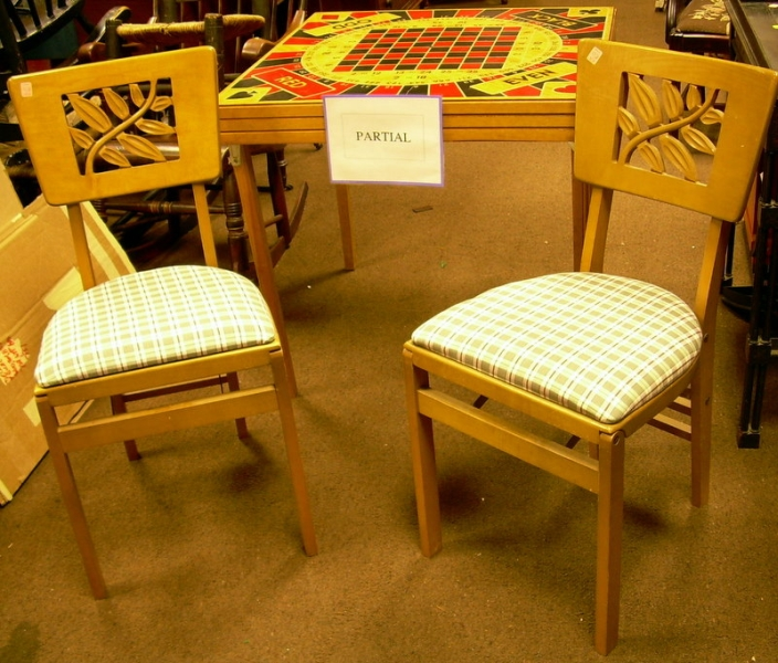 Stackmore Blonde Wood Folding Games Table with a Set of Four Chairs
