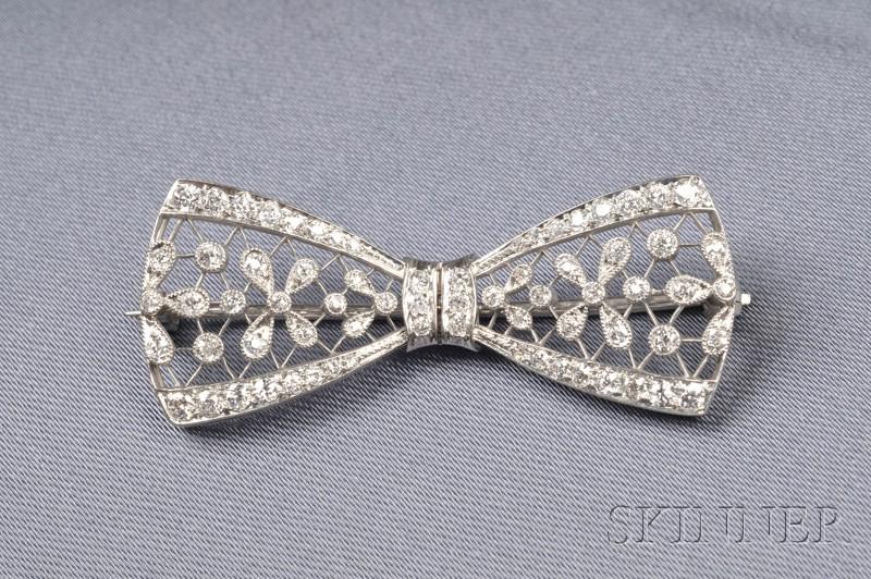 Edwardian Platinum and Diamond Bow Brooch, T.B. Starr
