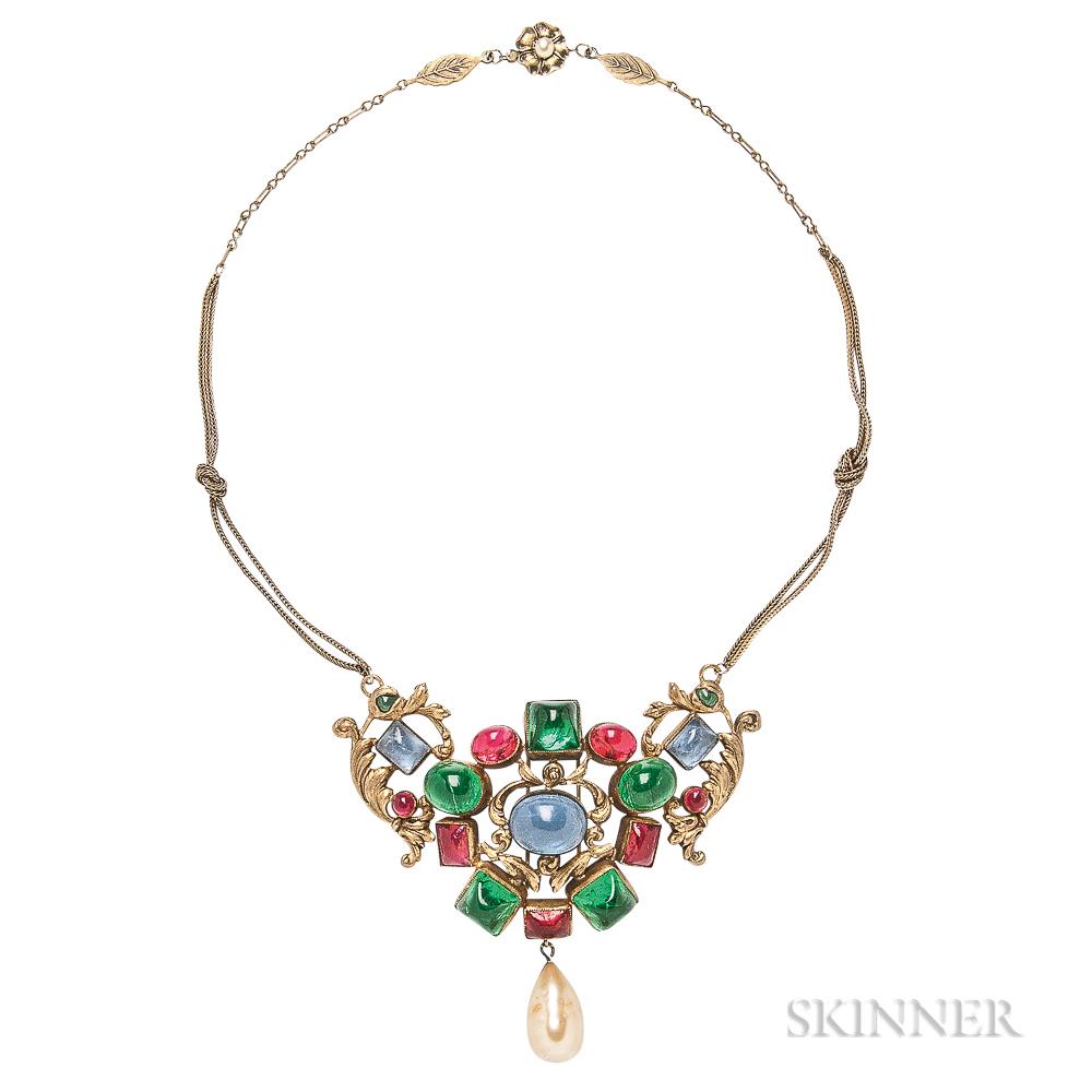 Vintage Colored Glass Necklace, Possibly Maison Gripoix
