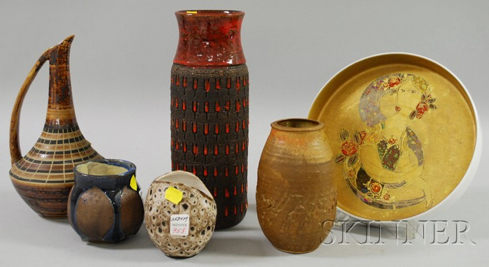 Rosenthal/Bjorn Wiinblad Gilt and Lustre-decorated Porcelain Serving Tray and Five Pieces of Modern Studio Art Pottery.