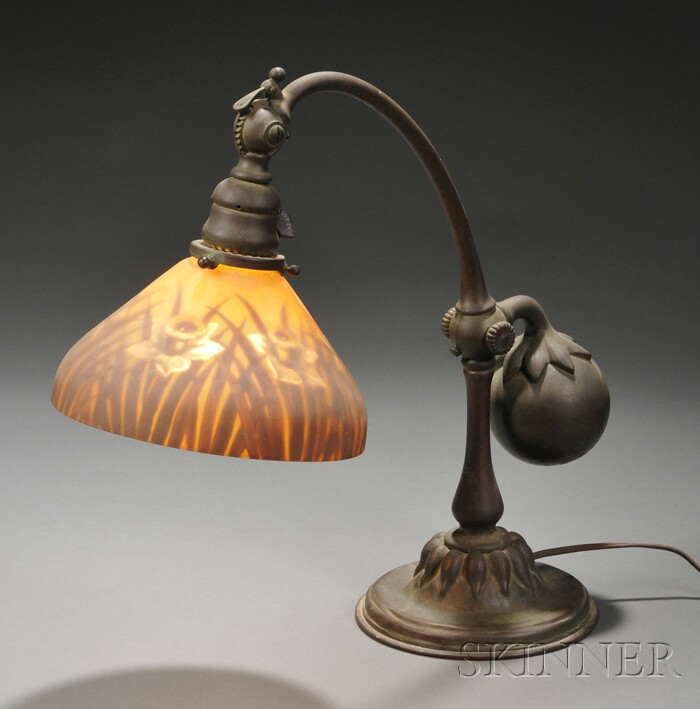 Tiffany Studios Counterbalance Desk Lamp with a Reverse-painted Shade
