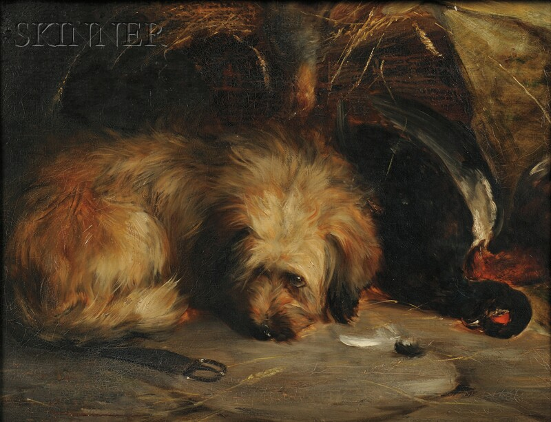 Continental School, 19th Century      Terrier with Game