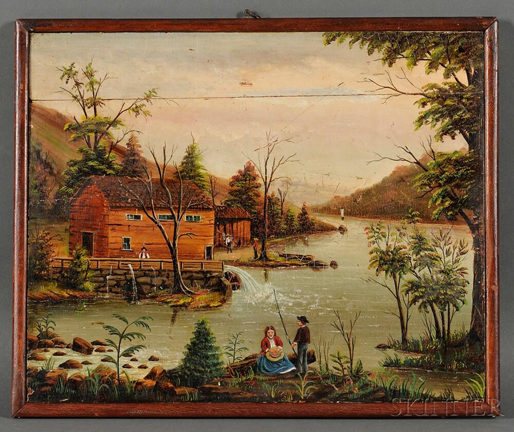 American School, 19th Century      Naive Landscape, Possibly Pennsylvania.