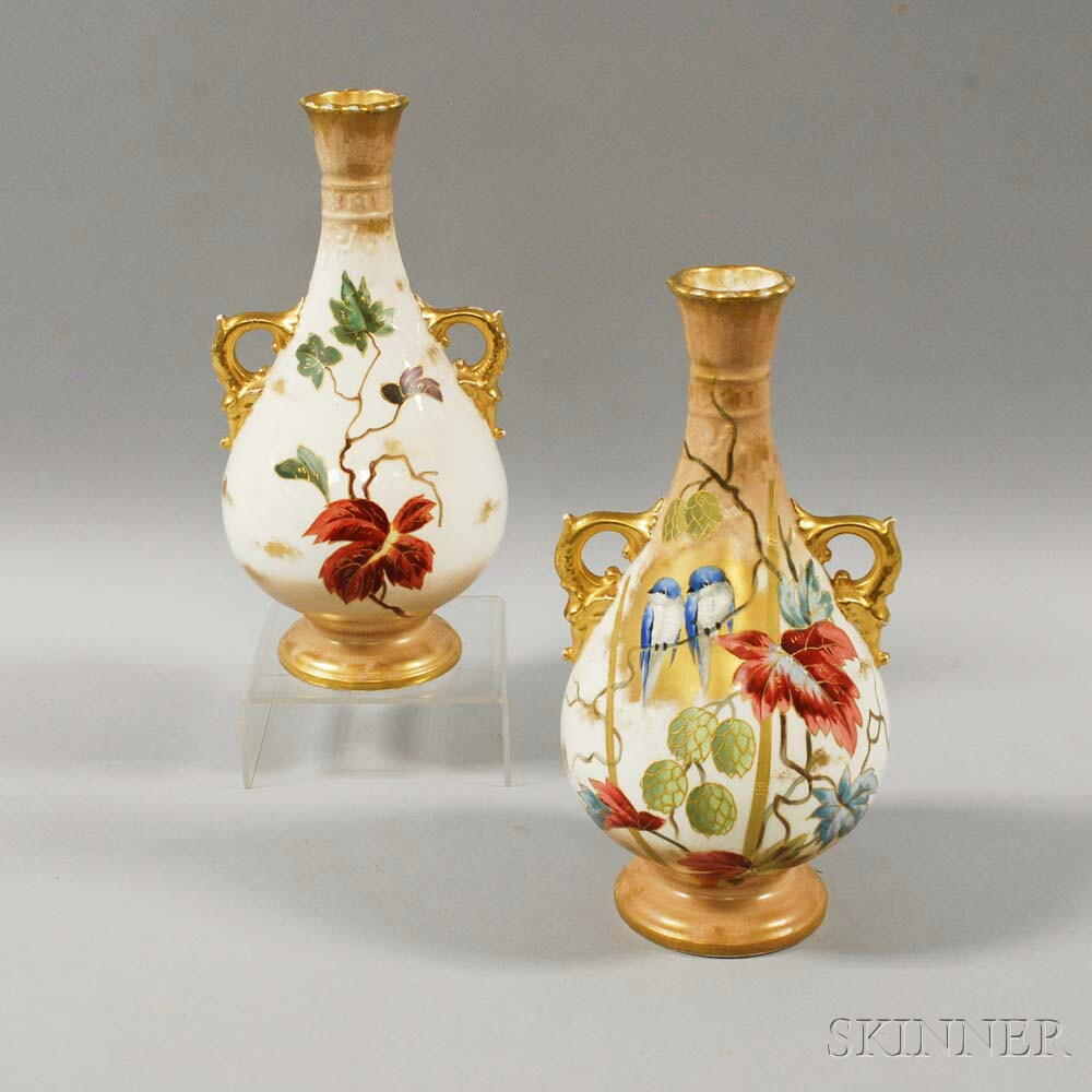 Pair of Royal Bonn Bird-decorated Ceramic Vases