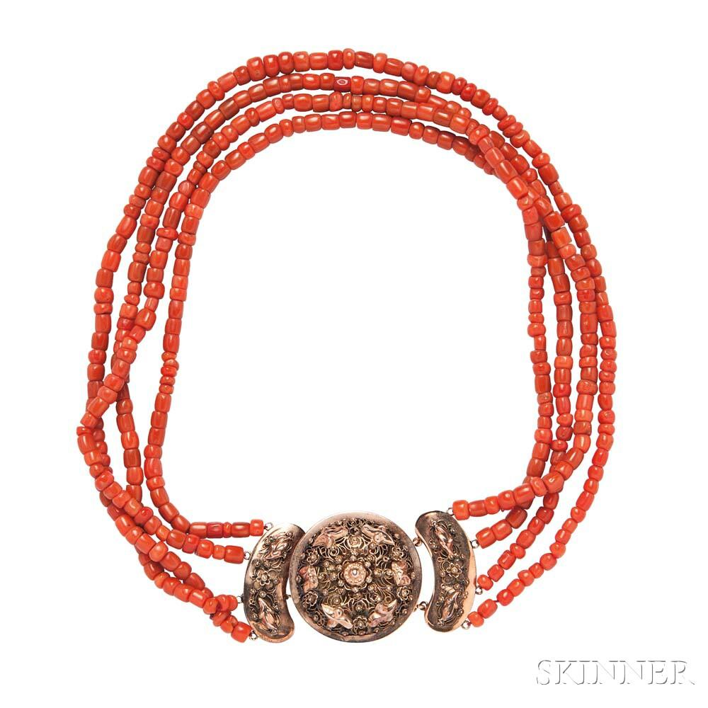 Antique Coral Necklace and Bracelets