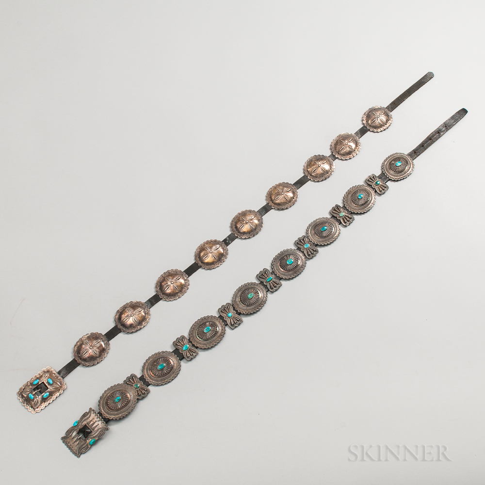 Two Southwest Silver and Turquoise Concha Belts