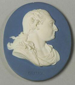 Wedgwood and Bentley Solid Blue Jasper Portrait Medallion of David Garrick