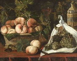 Flemish or Spanish School, 18th Century Style  Table Top Still Life With Fruit and Wine