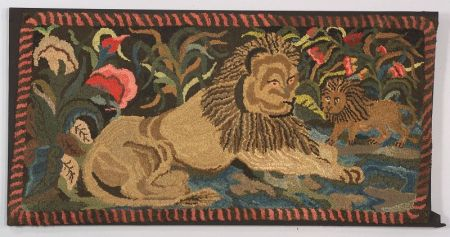 Large Wool and Cotton Figural Hooked Rug