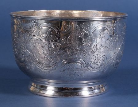 American Silver Engraved Punch Bowl