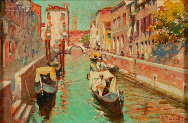 Rafael Senet (Spanish, 1856-1926)      Venetian Canal