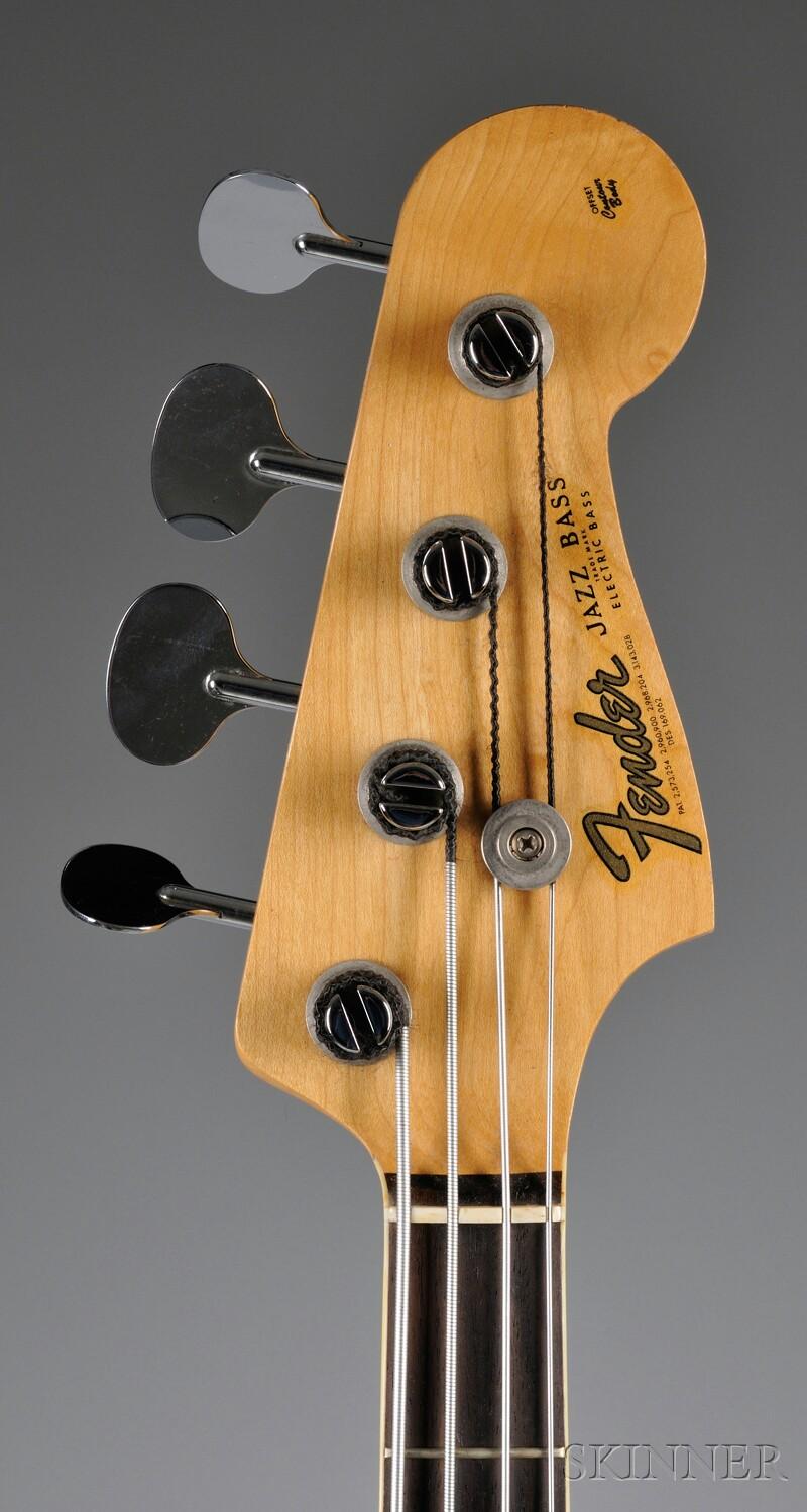 American Electric Bass Guitar, Fender Musical Instruments, Santa Ana, 1966,   Model Jazz Bass