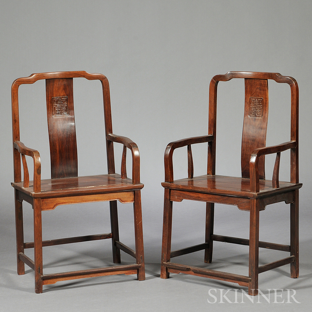 Pair of Continuous Yoke-back Armchairs