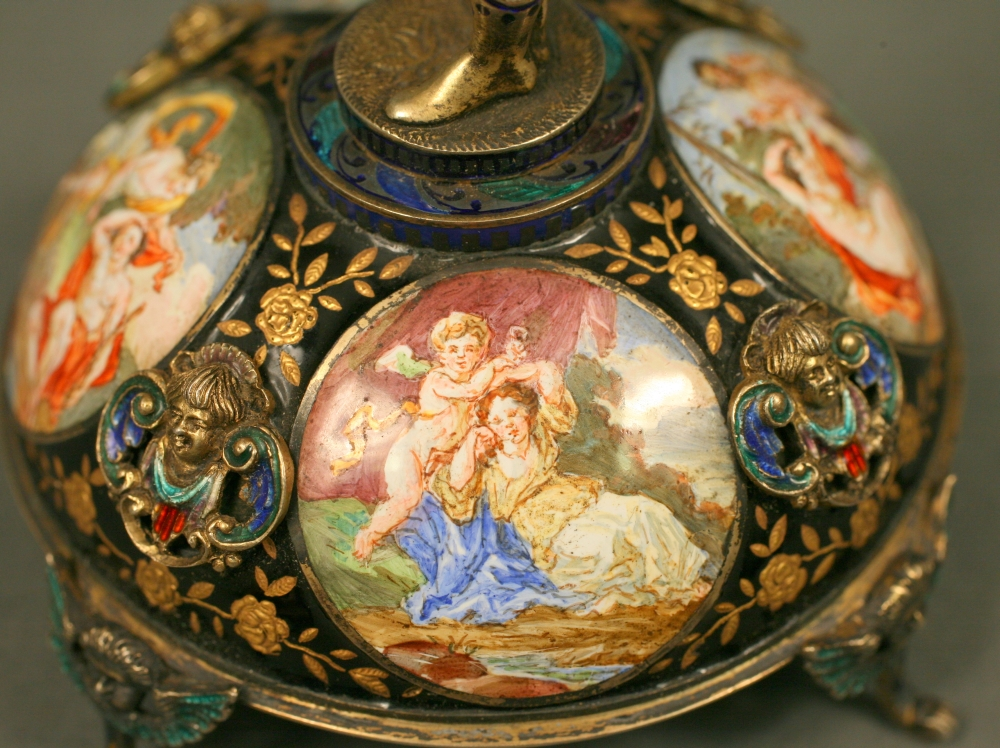 Continental Gilt and Enameled Figural Boudoir Clock