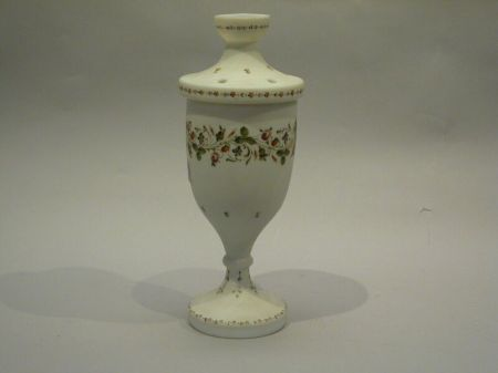 Floral Enamel Decorated Bristol Glass Potpourri Jar.