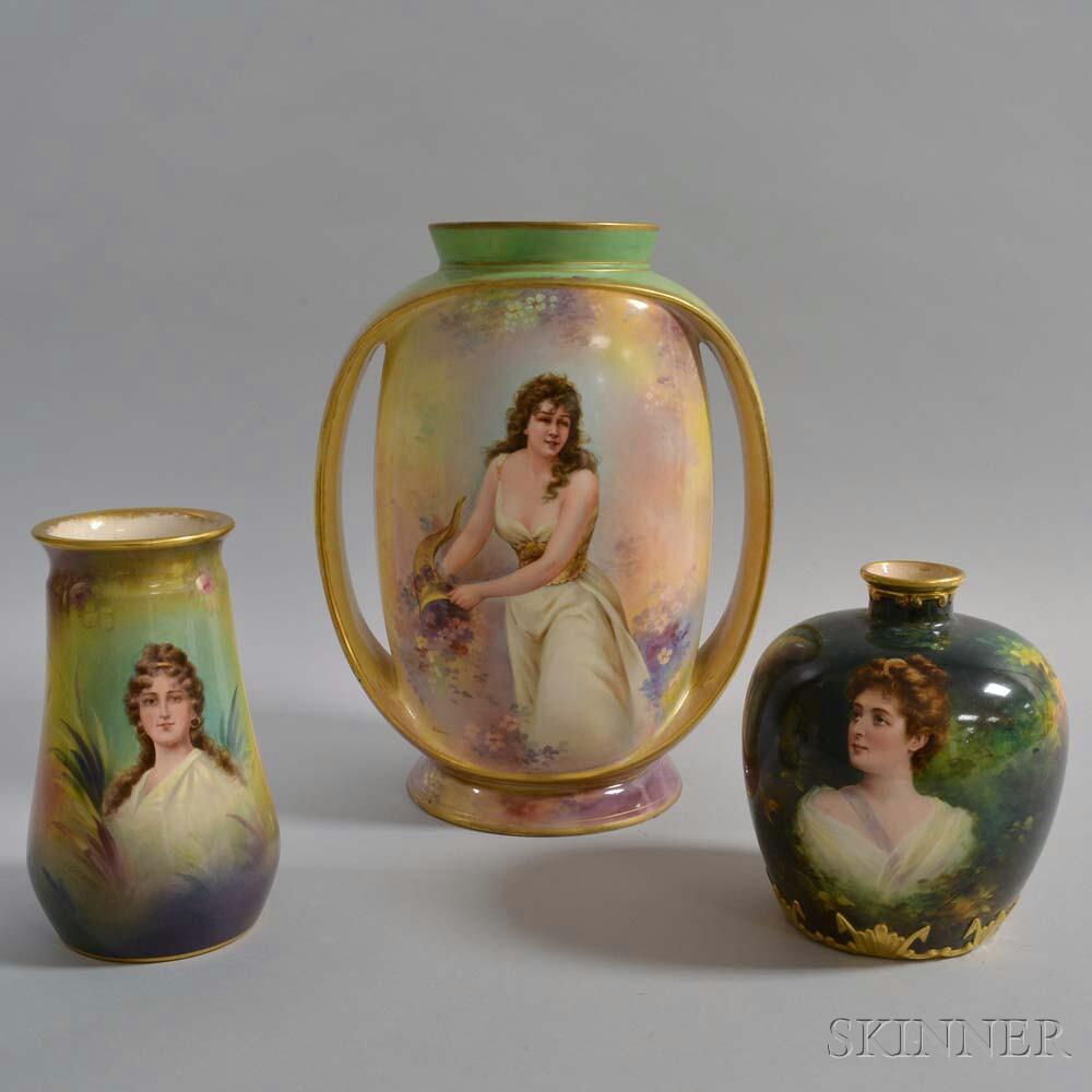 Three Royal Bonn Ceramic Portrait Vases