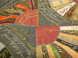 Signature Embroidered Crazy Quilt.