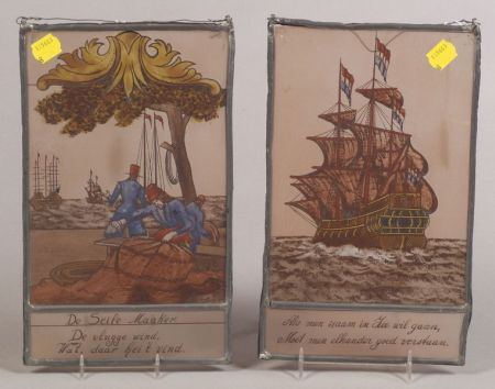 Two Dutch Painted Glass Panels