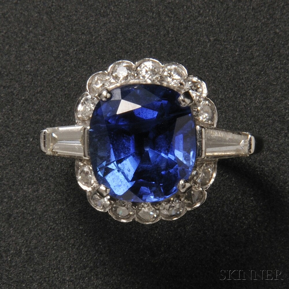 18kt White Gold, Sapphire, and Diamond Ring