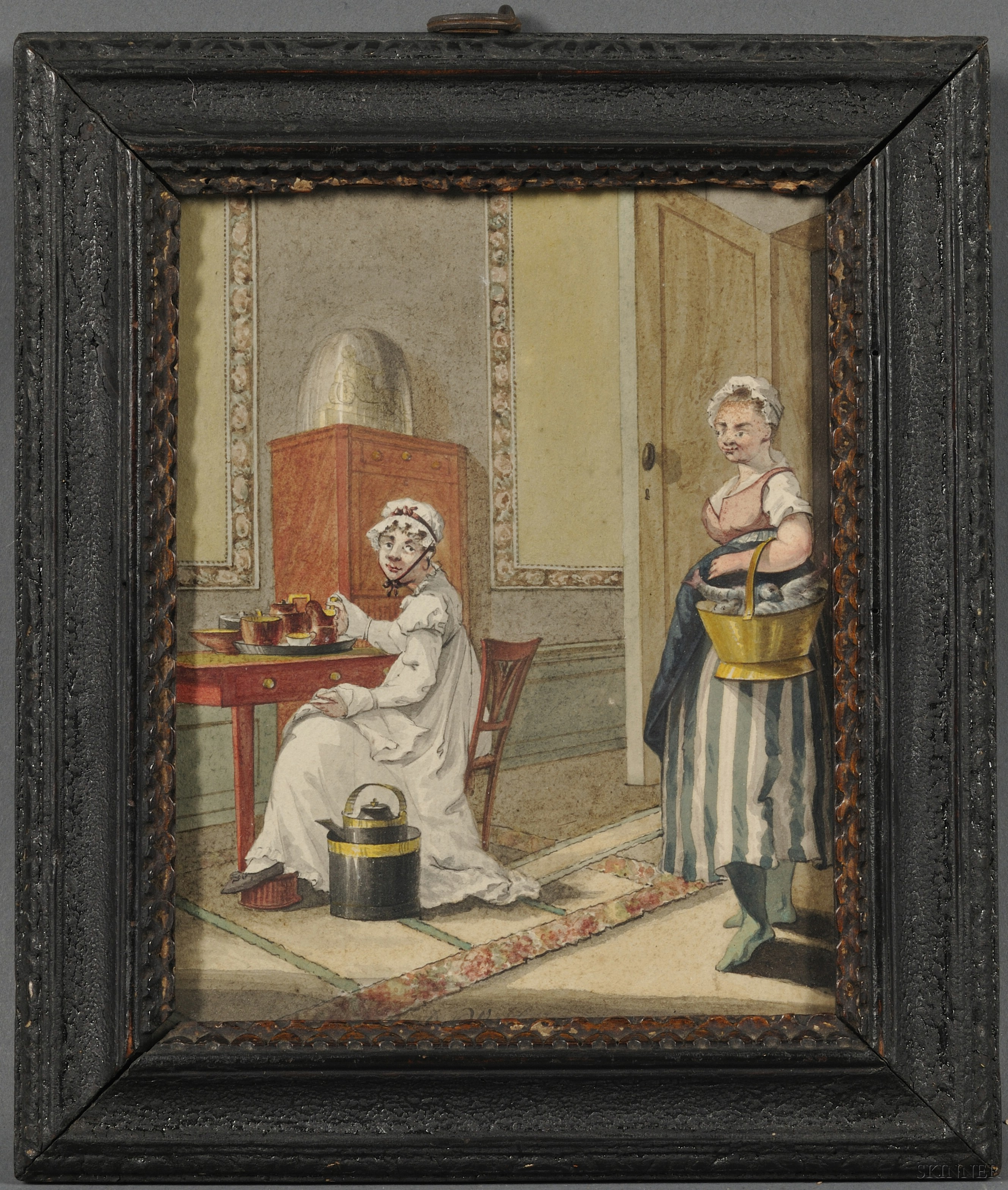 European School, 19th Century      Lady and Kitchen Maid in an Interior