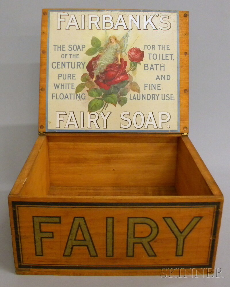 """FAIRY, Fairbank's Pure White Floating Soap"" Painted Retail   Countertop Advertising Lidded Wooden Display Box"