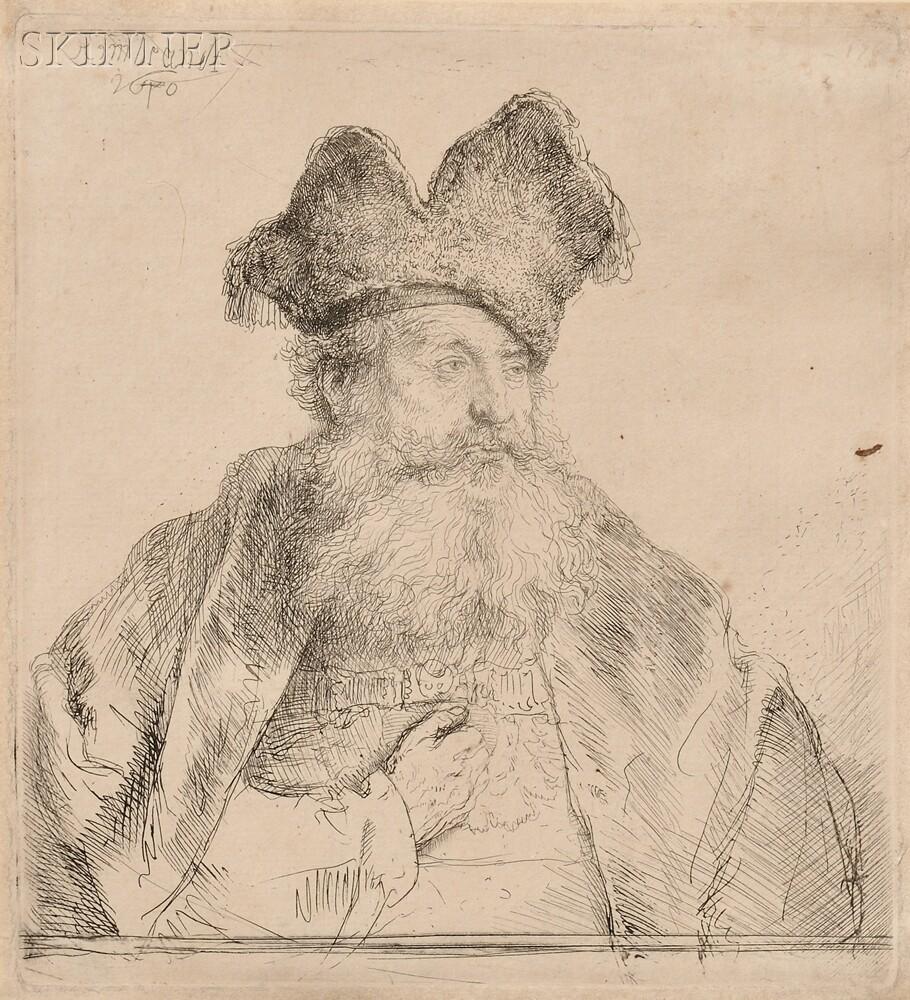 Rembrandt van Rijn (Dutch, 1606-1669)      Old Man with Divided Fur Cap