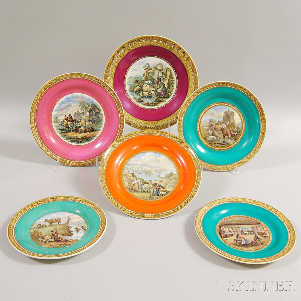 Six Various Pratt Transfer-printed Plates
