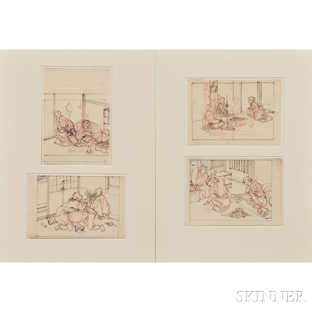 Four Tsukioka Yoshitoshi (1839-1892) Drawings