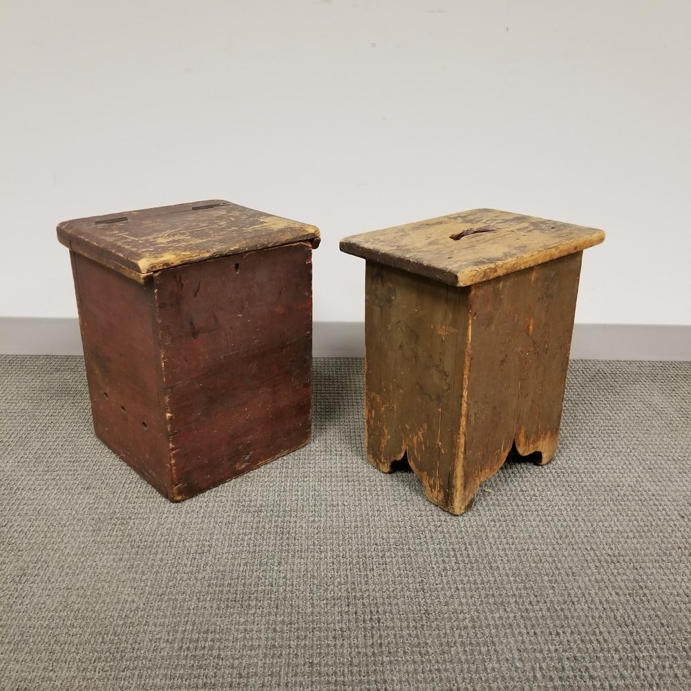 Red-painted Pine Box and a Stool with Cutout Feet and Top
