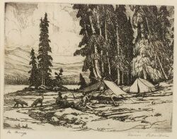 Hans Kleiber (American, 1887-1967)  Lot of Two Prints:  In Camp