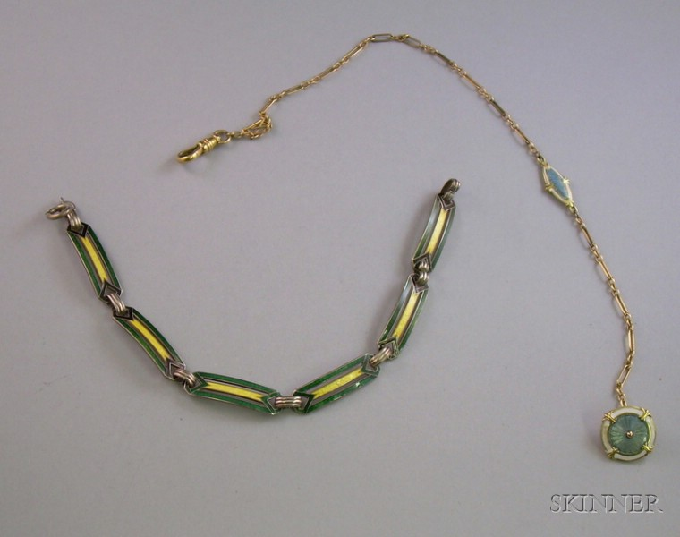 Art Deco Sterling Silver and Enamel Link Bracelet and a Wordley, Allsop & Bliss Company 14kt Gold and Enamel Watch Chain
