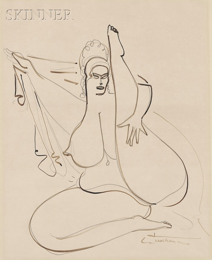 Gaston Lachaise (French/American, 1882-1935)      Seated Nude with Leg Raised