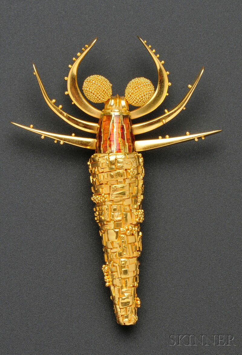 18kt Gold and Enamel Caddis Worm Pendant/Brooch, John Paul Miller