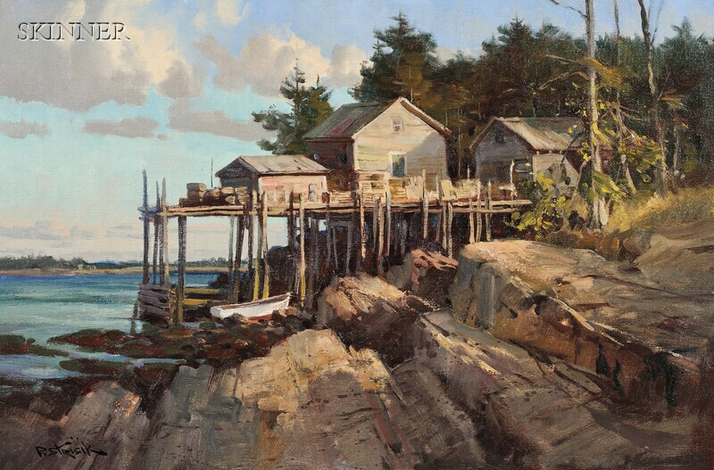 Paul Strisik (American, 1918-1998)      Maine Coast, Wharf