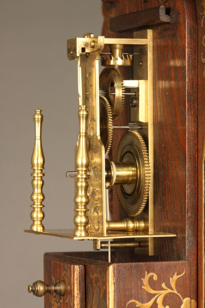 Large Shaku Dokei or Japanese Lacquered Stick Clock with Stand