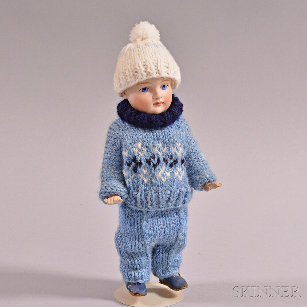 Small All Bisque Boy Doll in Knit Wool Clothing