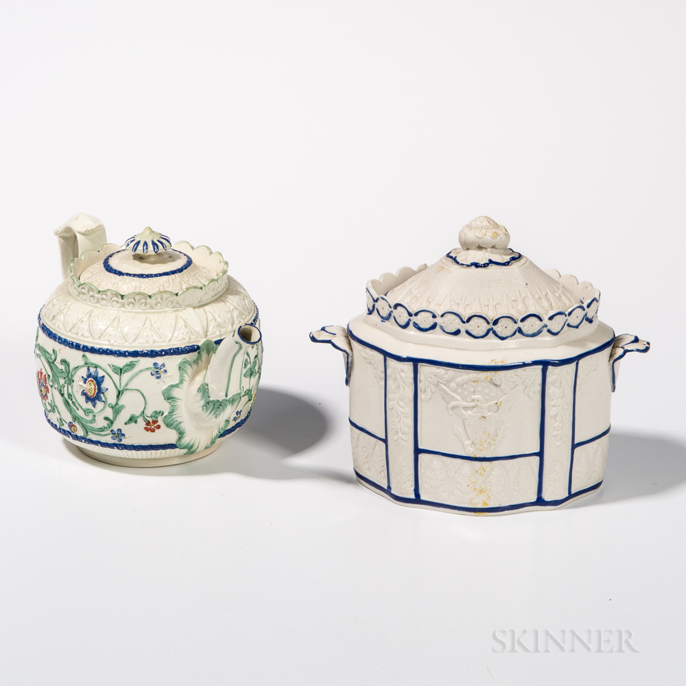 Two English Molded Tea Service Pieces